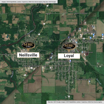 Citizens Accounting of Neillsville and Loyal join MBE CPAs - Aerial images of both locations from Google